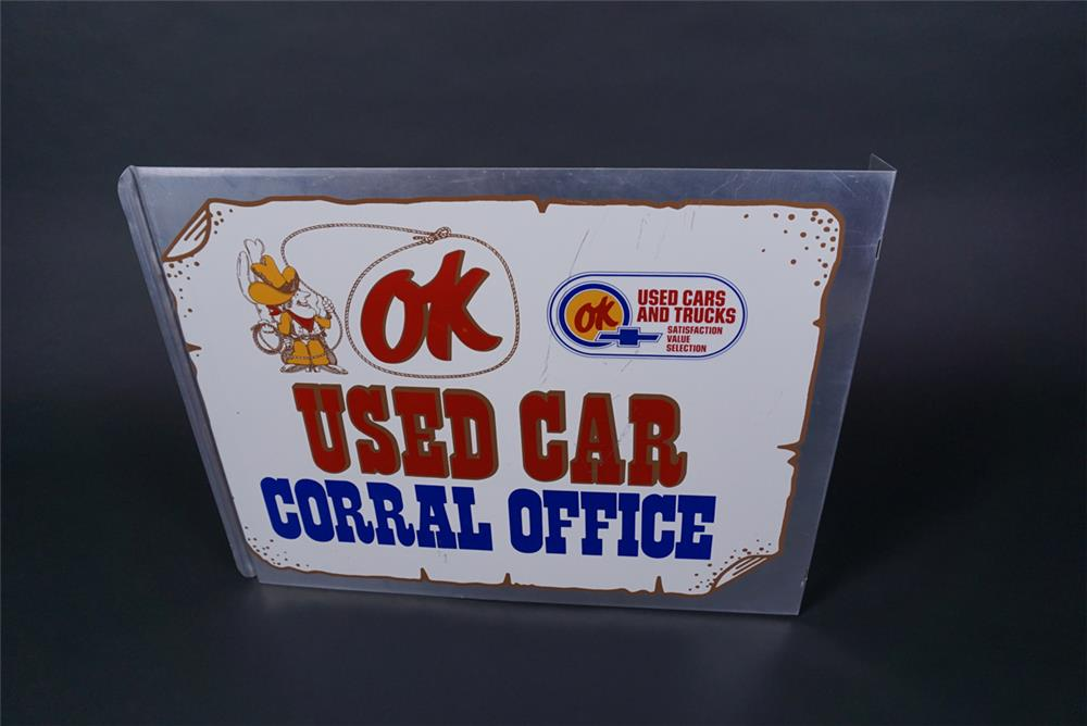 Hard to find vintage Chevrolet OK Used Car Corral Office double-sided dealership tin flange - Rear 3/4 - 190731