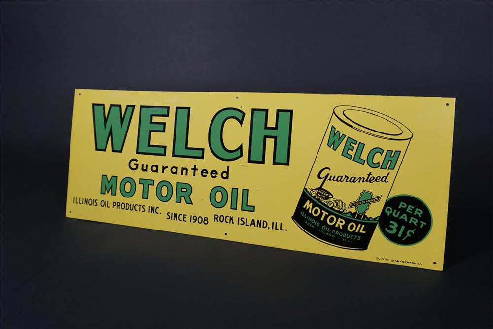 NOS 1930s Welch Motor Oil single-sided tin service station sign with period sedan graphic. - Front 3/4 - 190732