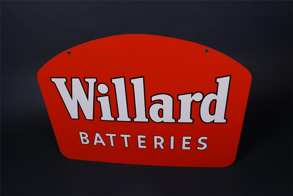 Very clean 1952 NOS Willard Batteries double-sided tin sign. - Front 3/4 - 190734