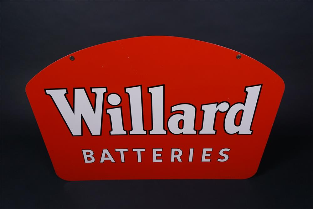 Very clean 1952 NOS Willard Batteries double-sided tin sign. - Rear 3/4 - 190734