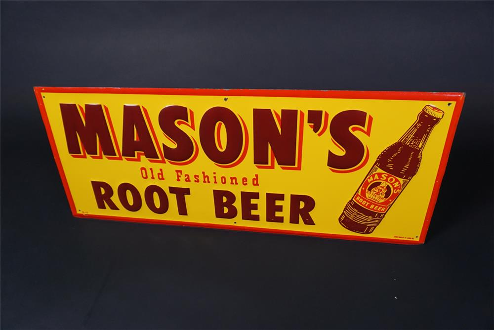 Circa 1940s Mason's Old Fashioned Root Beer single-sided embossed tin sign - Front 3/4 - 190735
