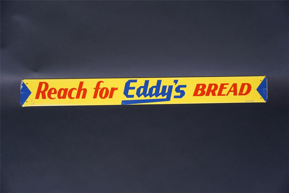 NOS 1950s Reach For Eddy's Bread single-sided tin tacker sign. - Front 3/4 - 190737
