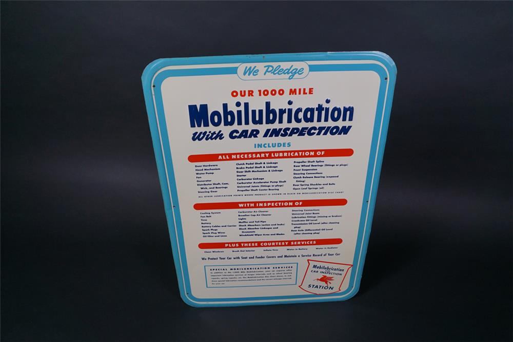 NOS 1950s Mobil Oil Mobilubrication service station single-sided embossed tin pledge sign - Front 3/4 - 190738
