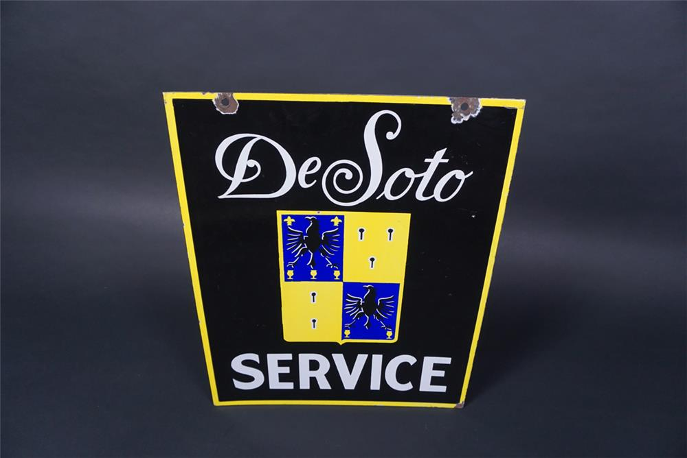 Scarce 1930s DeSoto Service double-sided porcelain dealership sign with crest logo. - Rear 3/4 - 190739