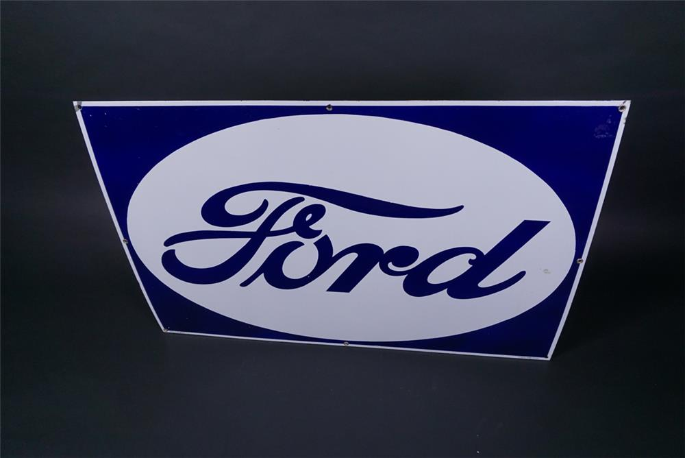 Stunning NOS 1930s Ford Automobiles single-sided porcelain dealership sign - Front 3/4 - 190741