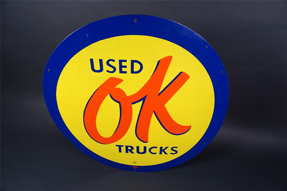 Extremely hard to find 1950s Chevrolet OK Used Trucks single-sided porcelain dealership sign. - Front 3/4 - 190742