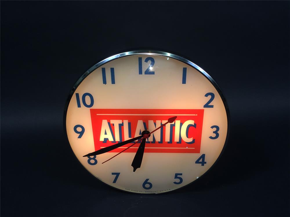 Very clean Atlantic Gasoline glass-faced light-up service station clock. - Front 3/4 - 190746