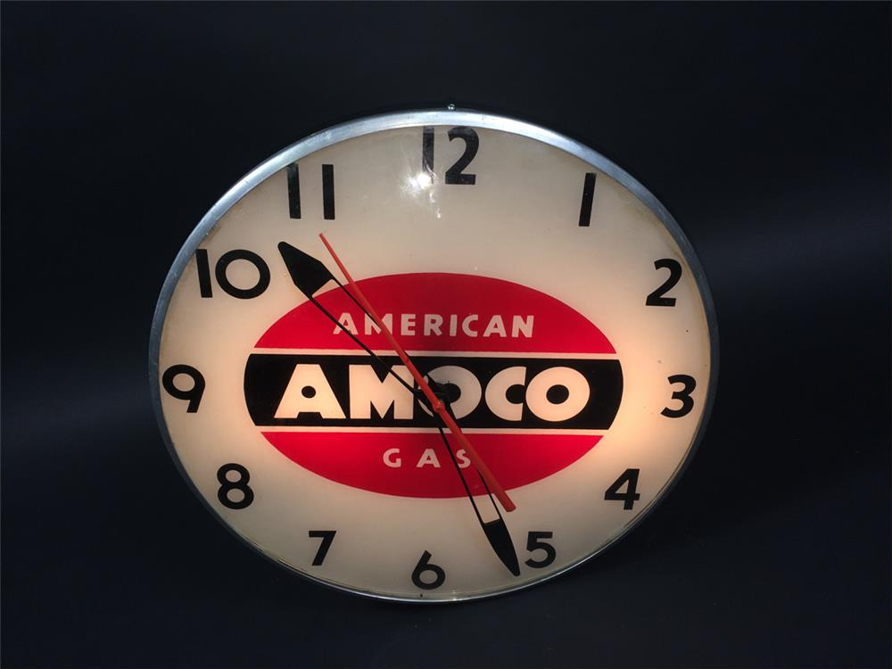 Circa 1950s American Amoco Gas glass faced light-up service station clock. - Front 3/4 - 190749