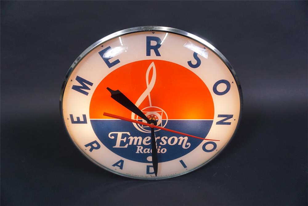 Late-1950s Emerson Radio glass-faced light-up advertising clock. - Front 3/4 - 190754