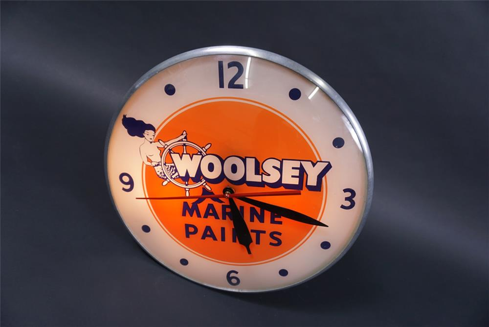 Wonderful Woolsey Marine Paints glass faced light-up clock with mermaid graphic. - Front 3/4 - 190758