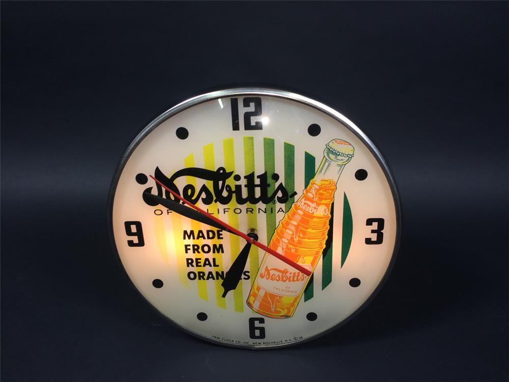 Stellar 1958 Nesbitt's of California Orange Soda glass faced light-up diner clock - Front 3/4 - 190770