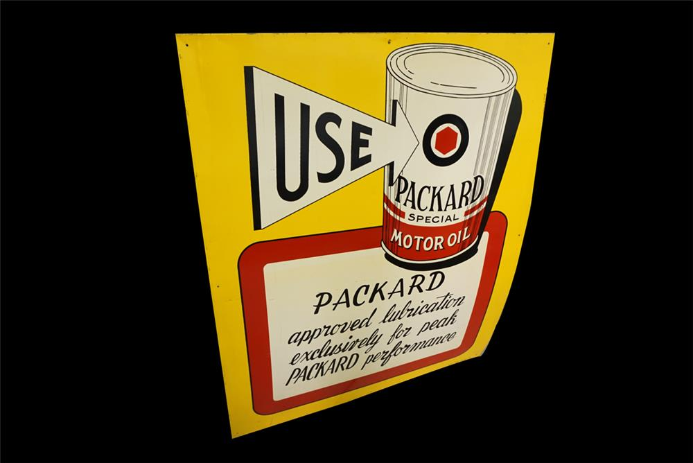 Rare late 1940s-early 50s Packard Special Motor Oil single-sided tin dealership sign - Front 3/4 - 190774