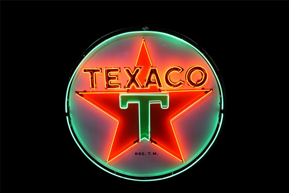 Striking 1947 Texaco Oil single-sided porcelain service station sign with animated neon. - Front 3/4 - 190775