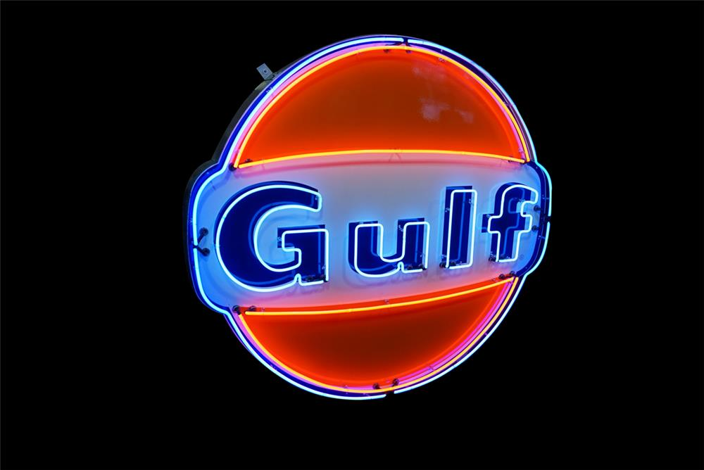 Amazing 1966 Gulf Oil single-sided porcelain service station sign with animated neon. - Front 3/4 - 190776
