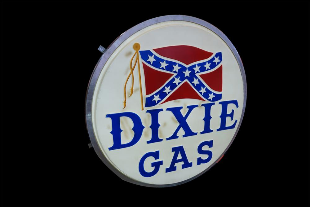 Extremely hard to find Dixie Gas with Rebel Flag single-sided light-up service station sign - Front 3/4 - 190778