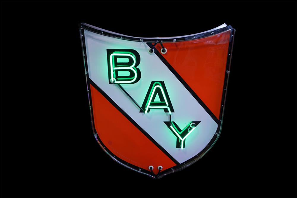 Beautiful Bay Oil single-sided neon porcelain service station sign. - Front 3/4 - 190780