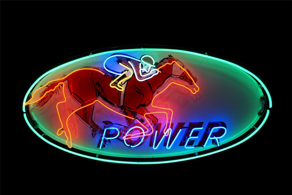"""Ultra rare 1950s Gibble Oil """"Power"""" Gasoline single-sided neon porcelain service station sign - Front 3/4 - 190781"""