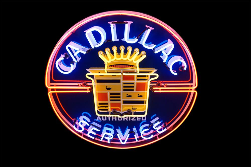 Magnificent late 1940s-50s Cadillac Authorized Service single-sided porcelain with neon dealership sign. - Front 3/4 - 190783