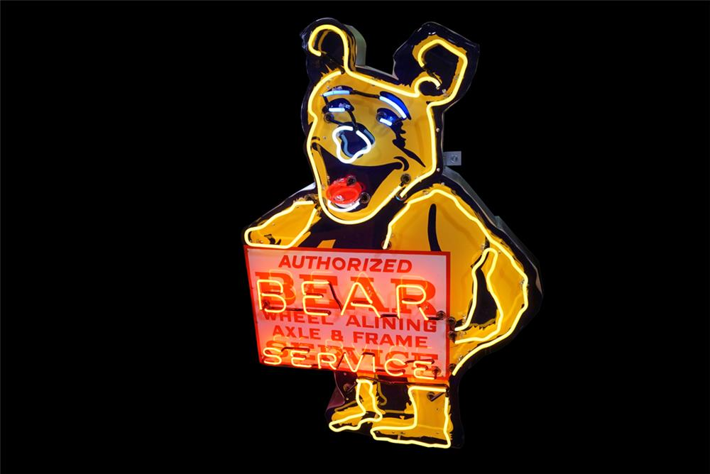 Highly desirable 1950s Bear Wheel Alignment single-sided neon porcelain automotive garage sign. - Front 3/4 - 190785