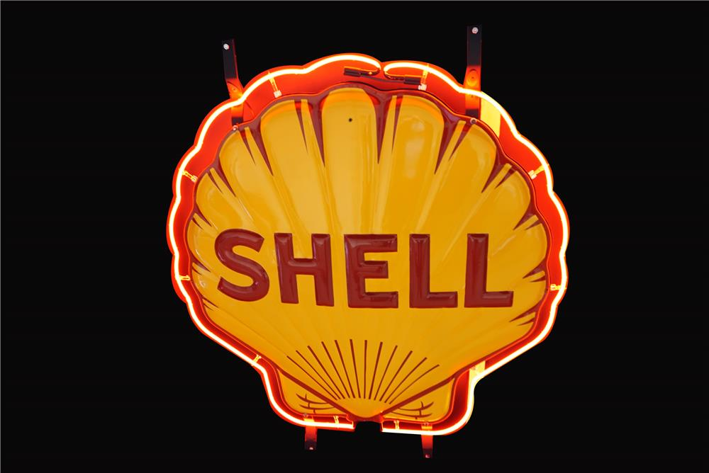 Stunning all original 1930s Shell Oil double-sided neon porcelain service station sign. - Front 3/4 - 190788