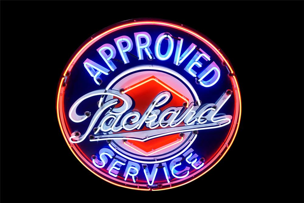 Stylish 1940s Packard Automobiles Approved Service single-sided porcelain with neon dealership sign. - Front 3/4 - 190789