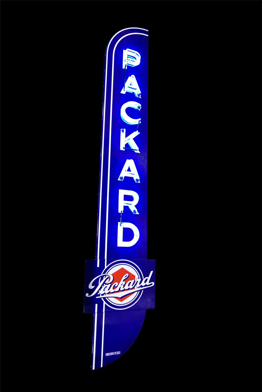 Near flawless 1930s-40s Packard Automobiles single-side neon porcelain dealership sign. - Front 3/4 - 190790