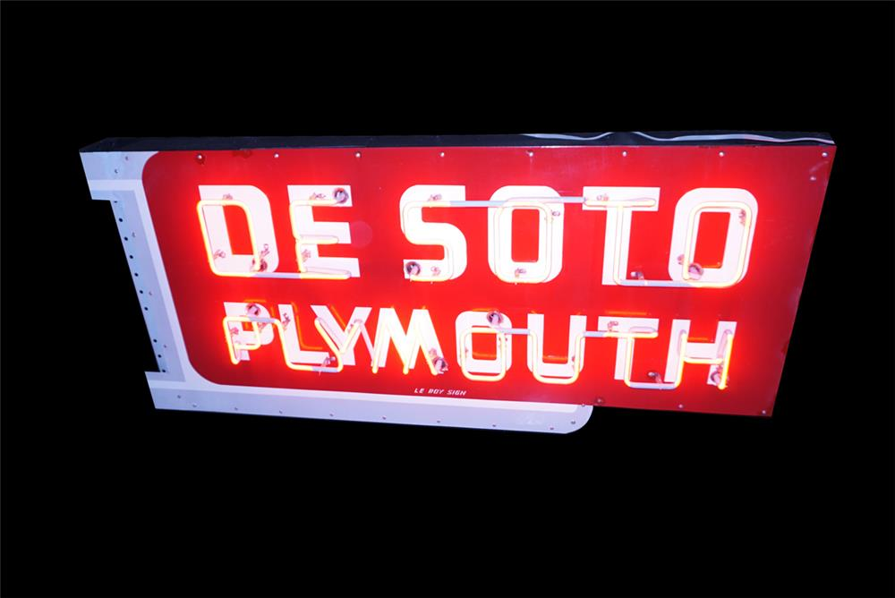 1950s Desoto Plymouth single-sided neon porcelain dealership sign. - Front 3/4 - 190793