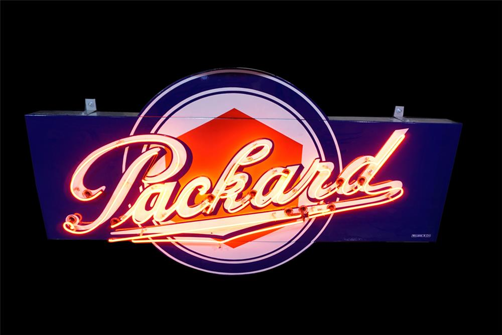 Killer large 1930s Packard Automobiles single-sided neon porcelain dealership sign. - Front 3/4 - 190797