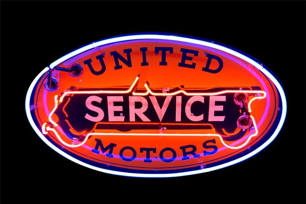 Wonderful 1930s United Service Motor single-sided neon porcelain automotive garage sign - Front 3/4 - 190798