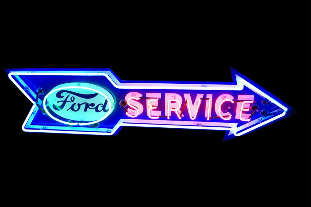 Gorgeous 1930s Ford Service single-sided neon porcelain dealership arrow sign. - Front 3/4 - 190799