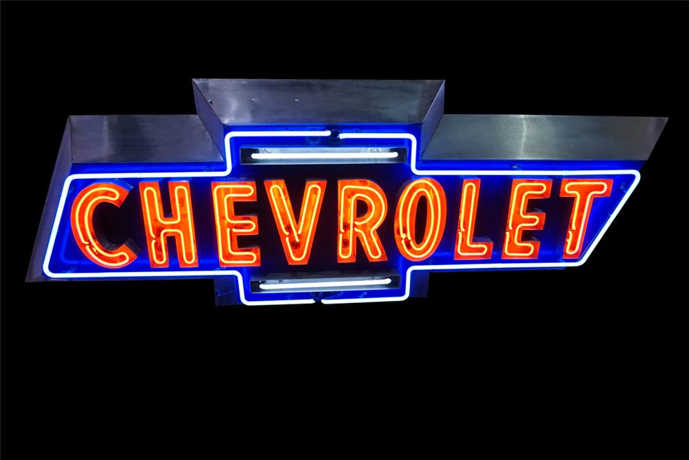 Extremely rare 1950s Chevrolet Automobiles neon porcelain dealership bow-tie sign - Front 3/4 - 190801