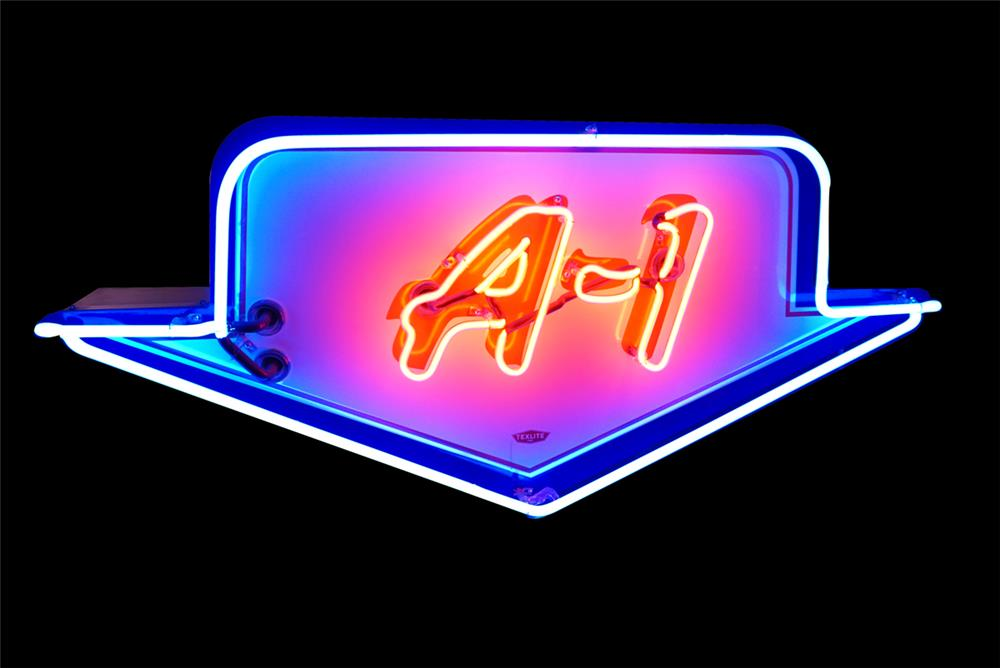 Fantastic 1950s Ford A-1 Used Cars single-sided neon porcelain dealership sign. - Front 3/4 - 190803