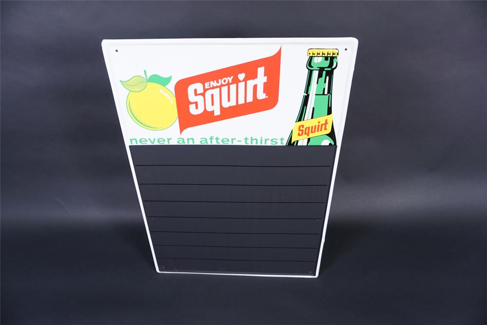 NOS early-1970s Squirt Soda embossed tin diner menu board with bottle graphic. - Front 3/4 - 190805