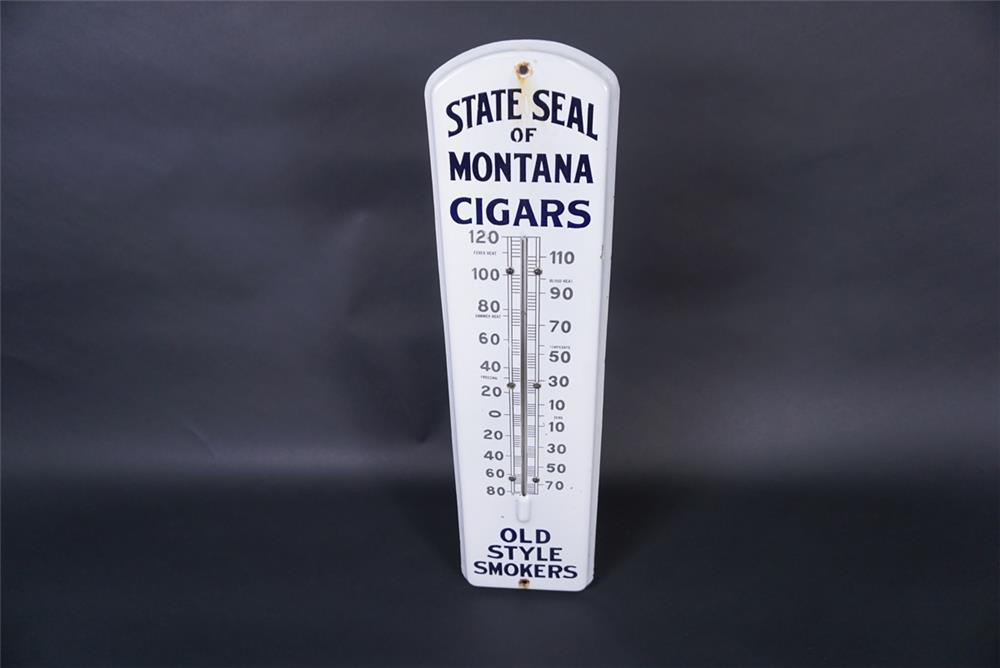 Early teen's State Seal of Montana Cigars single-sided porcelain general store thermometer. - Front 3/4 - 190809