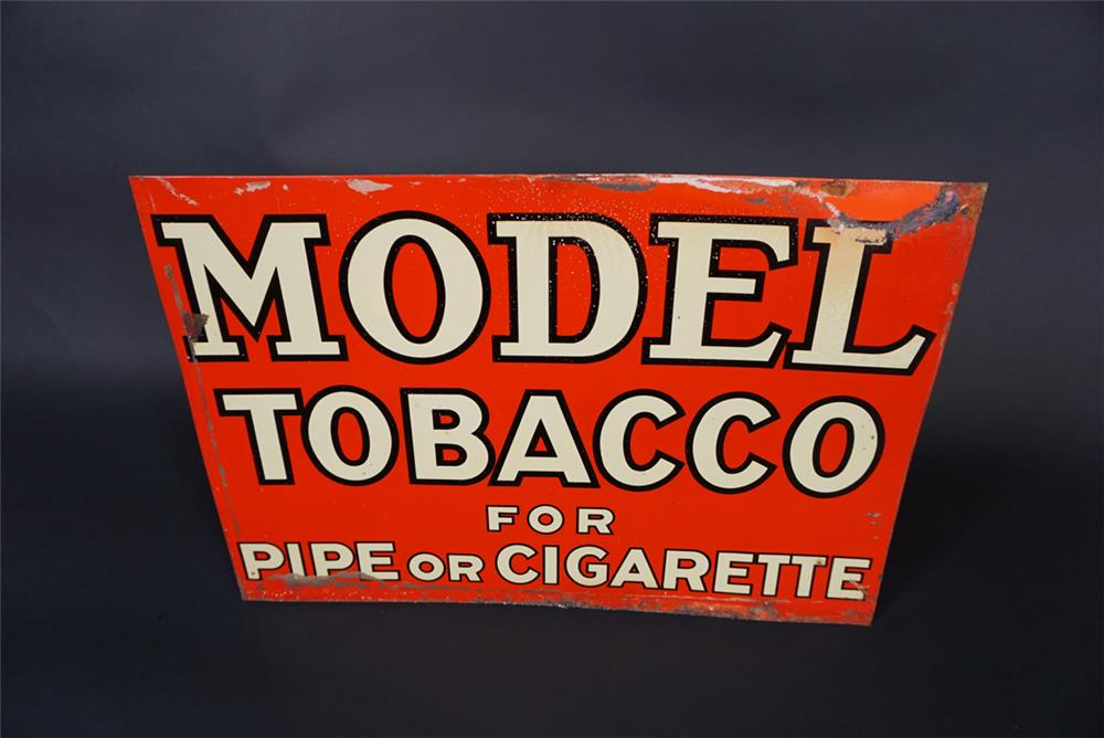 1938 Model Tobacco for Pipe or Cigarettes single-sided tin general store sign. - Front 3/4 - 190812