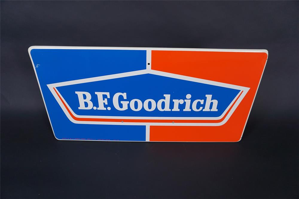NOS 1960s BF Goodrich Tires single-sided tin automotive garage sign. - Front 3/4 - 190820