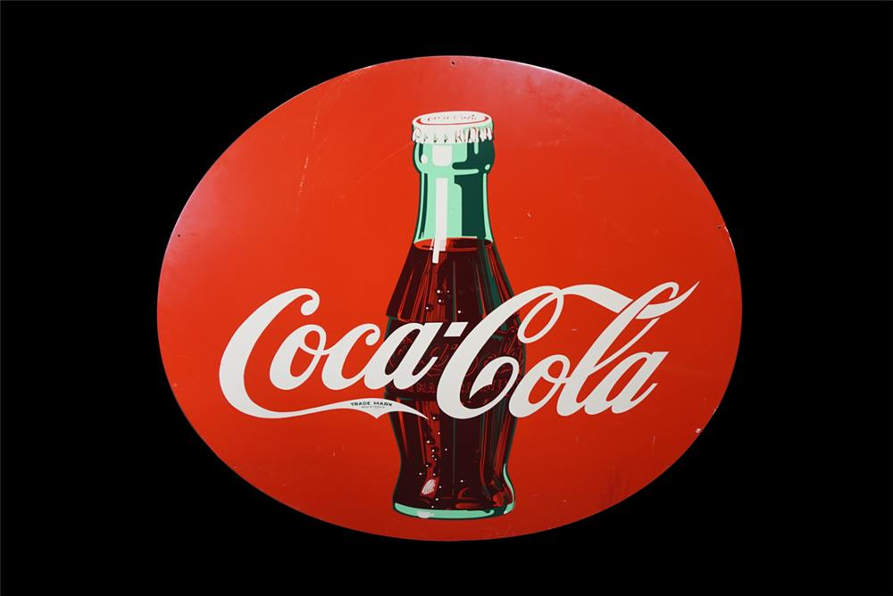 Large reproduction Coca-Cola single-sided tin sign with bottle graphic. - Front 3/4 - 190823