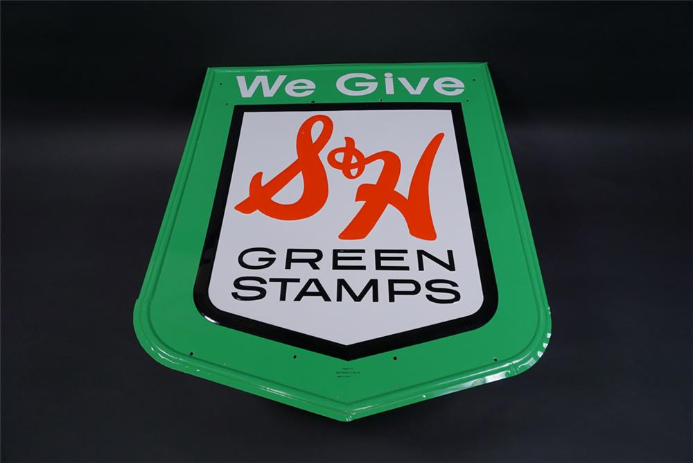 Circa 1960s S & H Green Stamps single-sided embossed tin service station sign. - Front 3/4 - 190824