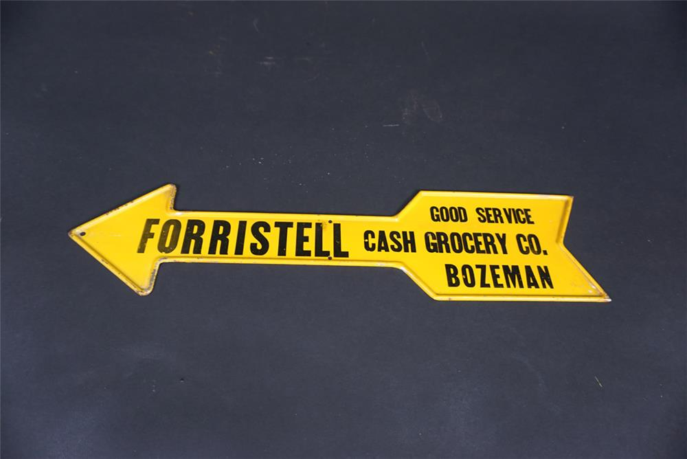NOS 1920s-30s Forristell Good Service Grocery Company die-cut tin arrow sign from Bozeman, Montana. - Front 3/4 - 190826