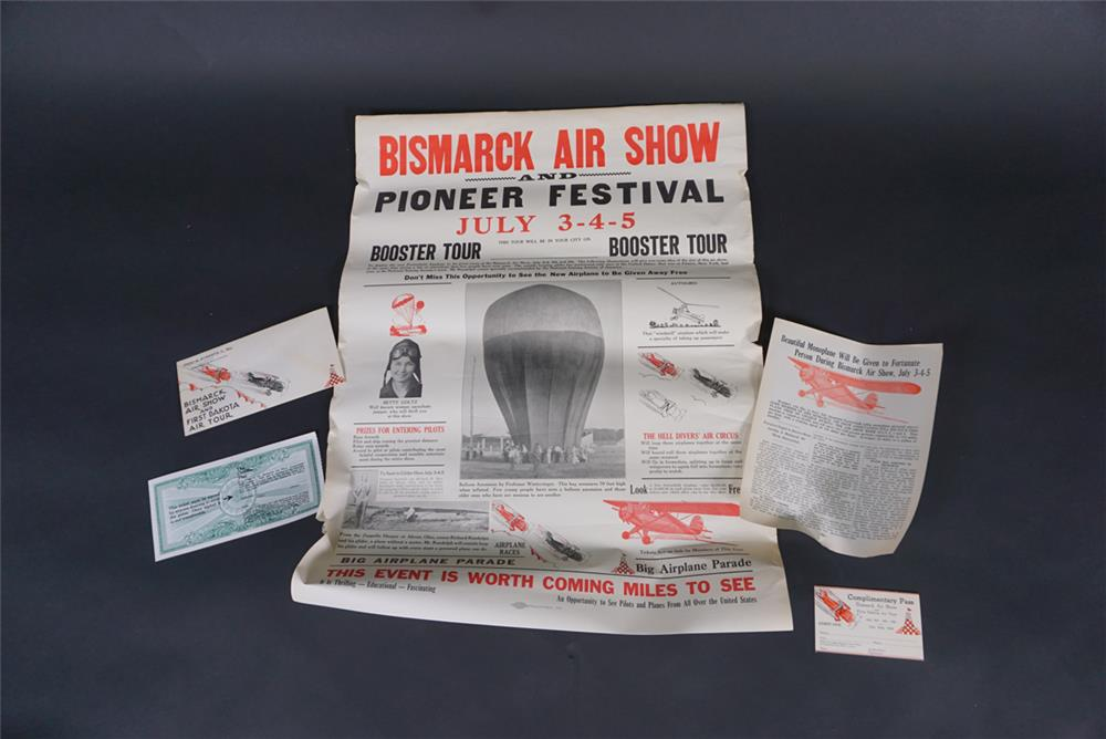NOS 1936 Bismarck Air Show promotional poster with postcards, envelope and more. - Front 3/4 - 190827