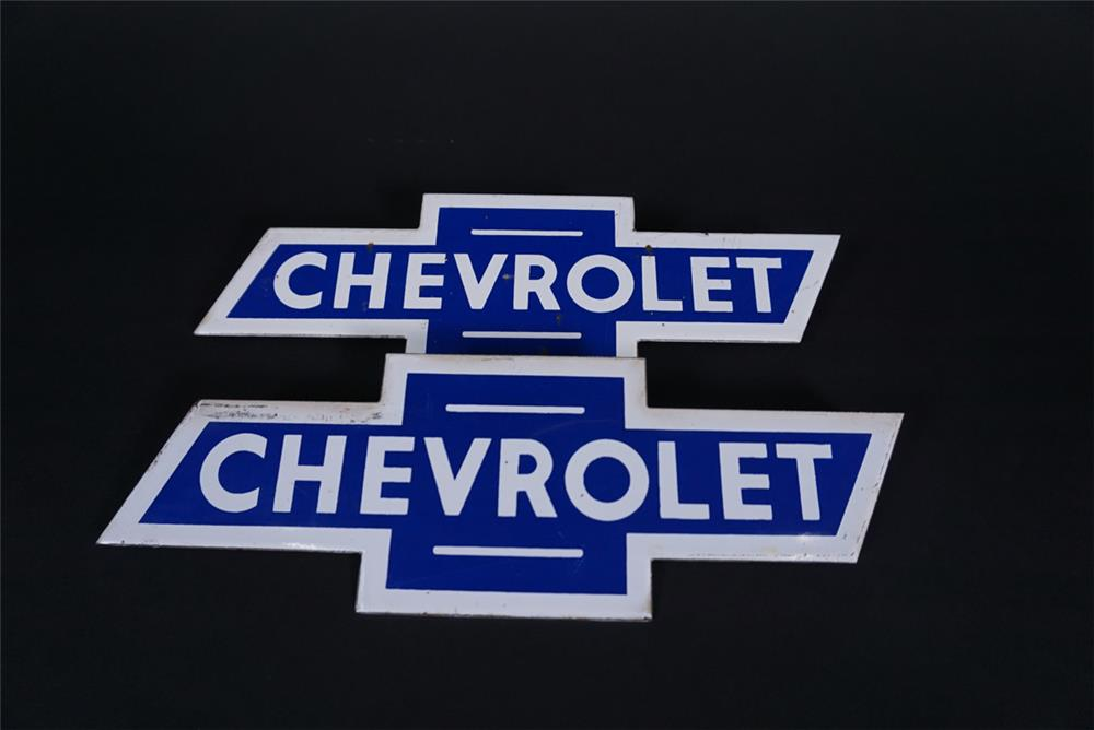 Original set of 1950s Chevrolet Bow-Tie porcelain signs for a Chevrolet OK Used Cars neon sign. - Front 3/4 - 190837
