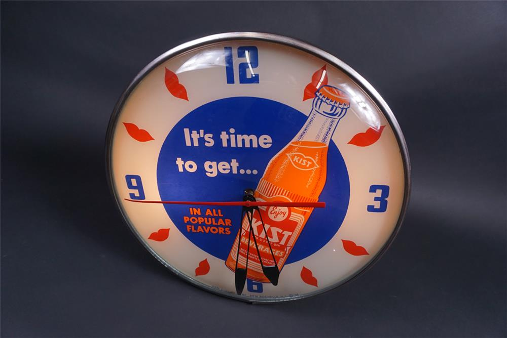 Magnificent 1956 Orange Kist Soda glass-faced light-up diner clock with bottle graphic. - Front 3/4 - 190843