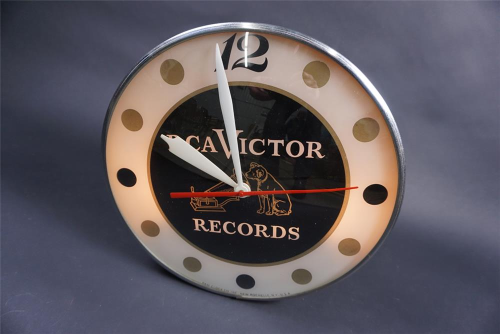 Late 1950s RCA Victor Records glass faced clock with Nipper Dog logo. - Front 3/4 - 190848