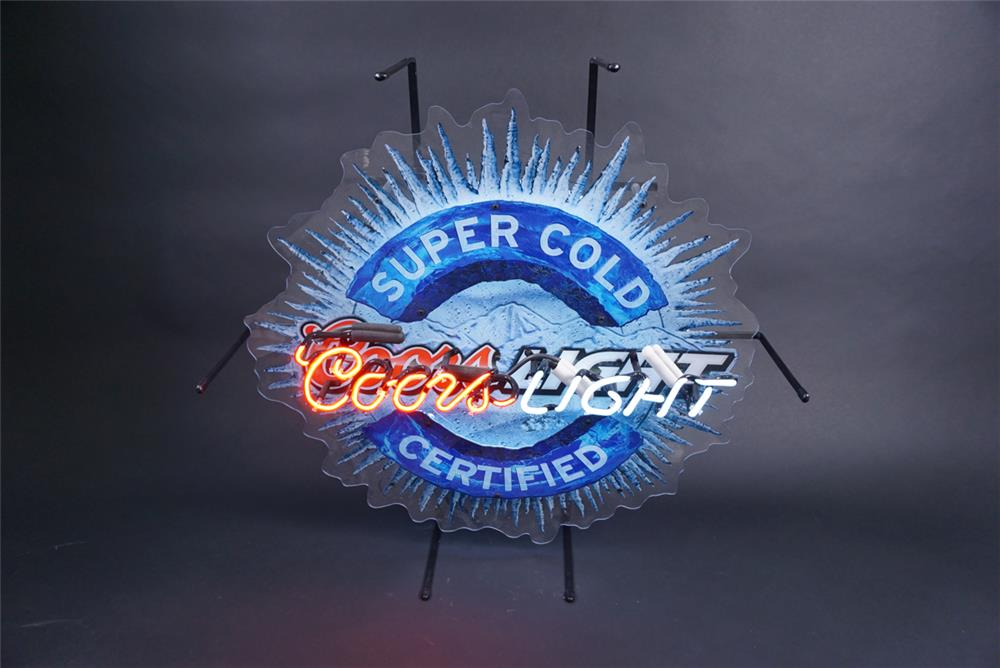 Ice Cold Coors Light neon tavern sign. Possibly never used. - Front 3/4 - 190852