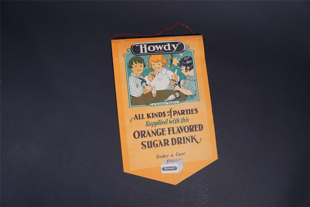 NOS 1928 Howdy Orange Soda general store poster with original metal hanging tab. - Front 3/4 - 190855