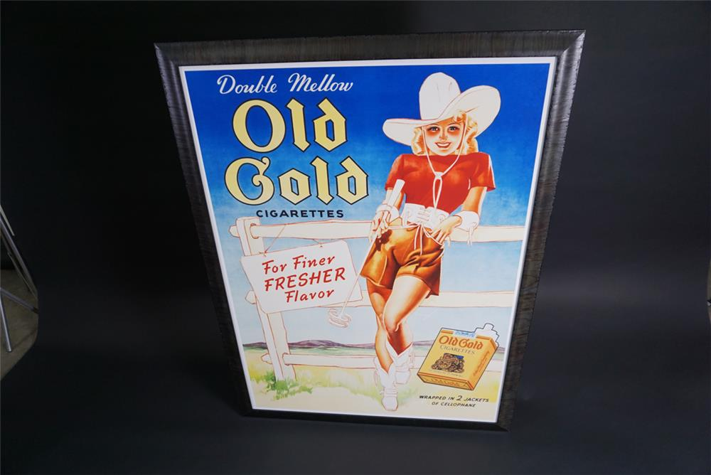 Stylish circa 1940s NOS Old Gold Cigarettes poster with cowgirl motif. - Front 3/4 - 190861