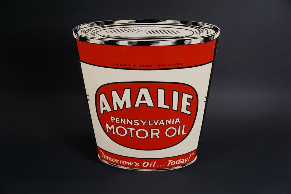 Sharp 1947 Amalie Pennsylvania Motor Oil double-sided die-cut tin can shaped tin sign. - Front 3/4 - 190870