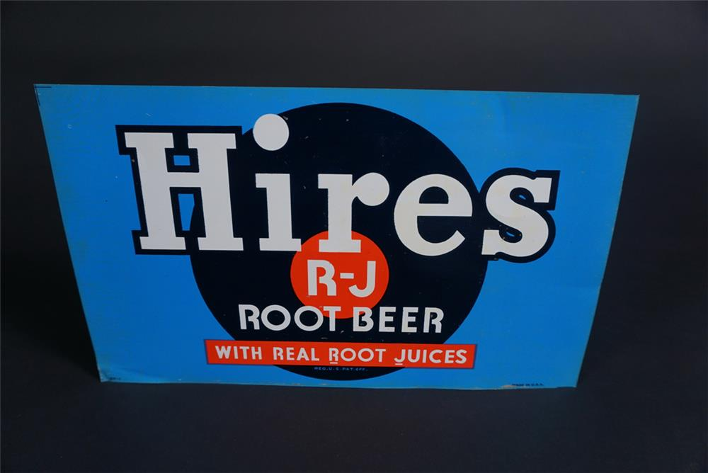 NOS 1930s Hires Root Beer single-sided tin soda fountain dispenser insert sign. - Front 3/4 - 190872