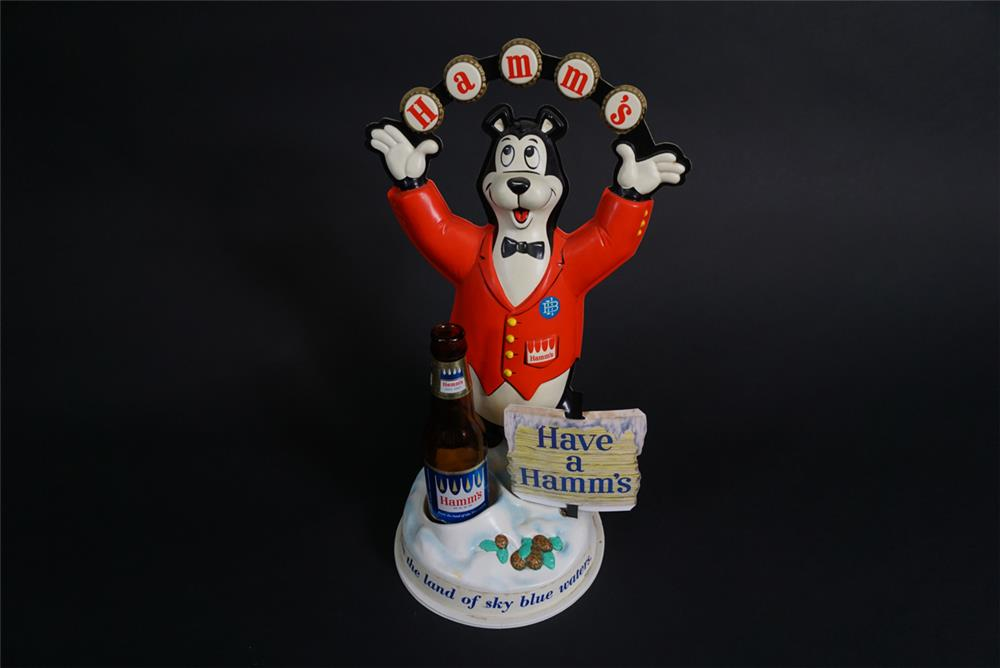 "Early 1960s Hamm's Beer ""Juggler"" three-dimensional tavern bar back countertop display with period bottle. - Front 3/4 - 190873"