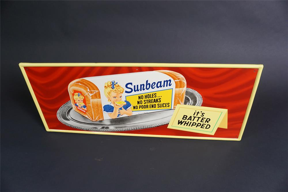 """Beautiful NOS 1959 Sunbeam Bread """"It's Battered Whipped"""" single-sided self-framed tin sign - Front 3/4 - 190876"""